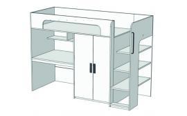 Кровать-чердак с компьютерным столом и шкафом Junior BR-05 с рисунком