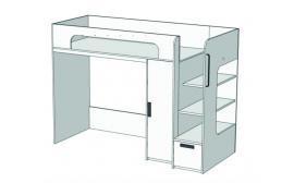 Кровать-чердак с ящиком, компьютерным столом и пеналом Junior BR-08Q