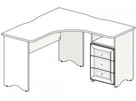 Стол угловой с тумбой Белоснежка (без рисунка) 93S101