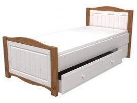 Кровать 90х200 с ящиком выкатным Милано (белый воск/браун)