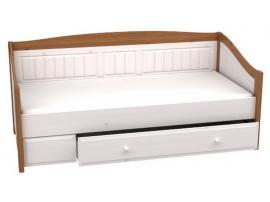 Кровать-диван с выкатным ящиком Милано (белый воск/браун)