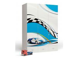 Шкаф 3-х дверный La-man (голубая) изображение 1