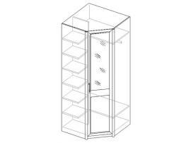 Шкаф для одежды 1 стеклянная дверь, угловой 21.122