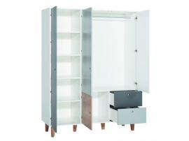 Шкаф 3-х дверный (белый/графит/серый/дуб) Concept изображение 2