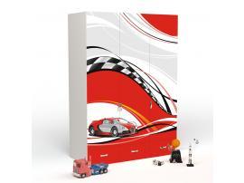 Шкаф 3-дверный La-Man (красная) изображение 1