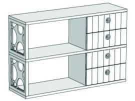 Горка 2-х этажная с 4-мя ящиками VG3-120Q Velvet