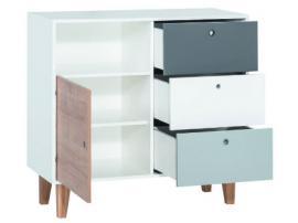 Комод с 3 ящиками и 1 дверкой (белый/графит/серый/голубой) Concept изображение 2