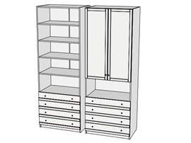 Шкаф-стеллаж с ящиками Calypso Wood 7CLT