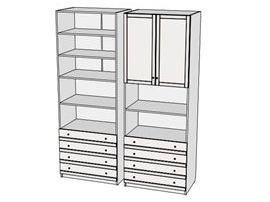 Шкаф-стеллаж с ящиками Calypso 7CLU