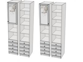 Пенал 1-дверный с ящиками и 2-открытых секциии Calypso Wood 7PV43RQ / 7PV43LQ изображение 1