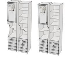 Пенал 1-дверный с ящиками и 2-открытых секциии Calypso Wood 7PX43RQ / 7PX43LQ изображение 1