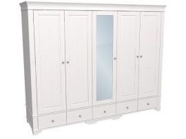 Шкаф с 4 глухими и 1 зеркальной дверью Бейли изображение 1