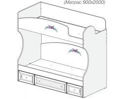 Кровать 2-х ярусная Белоснежка (без рисунка) 93K022