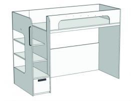 Кровать с ящиком 2-ой ярус Junior BR-02Q с рисунком изображение 2