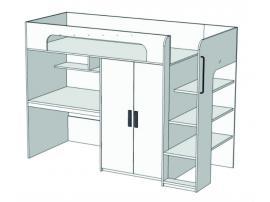 Кровать-чердак с компьютерным столом и шкафом Junior BR-05 с рисунком изображение 1