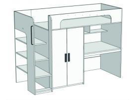 Кровать-чердак с компьютерным столом и шкафом Junior BR-05 с рисунком изображение 2
