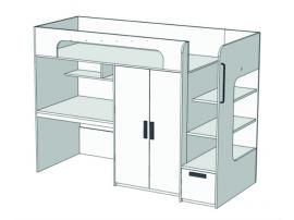 Кровать-чердак с ящиком, компьютерным столом и шкафом Junior BR-06Q с рисунком изображение 1