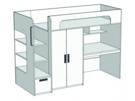 Кровать-чердак с ящиком, компьютерным столом и шкафом Junior BR-06Q с рисунком изображение 2