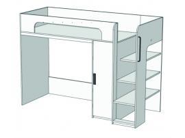 Кровать-чердак с компьютерным столом и пеналом Junior BR-07 с рисунком изображение 1
