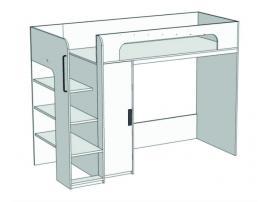 Кровать-чердак с компьютерным столом и пеналом Junior BR-07 с рисунком изображение 2
