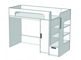 Кровать-чердак с ящиком, компьютерным столом и пеналом Junior BR-08Q с рисунком изображение 1