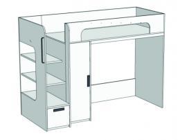 Кровать-чердак с ящиком, компьютерным столом и пеналом Junior BR-08Q с рисунком изображение 2