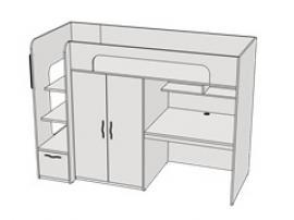 Кровать двухъярусная комбинированная с ящиком Teenager BR06 L/R