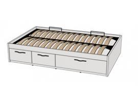 Кровать с подъемным механизмом 3-мя ящиками Teenager BTD3 L/R