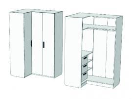 Шкаф-гардероб угловой с 3-мя внутренними ящиками Junior CC-021Q изображение 2