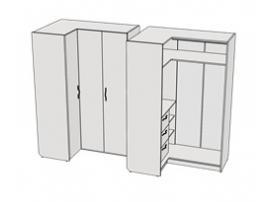 Шкаф угловой 3 ящика Teenager CC02 L/R