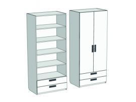 Шкаф 2-х дверный с полками и 2-мя ящиками Junior CL-0470Q с рисунком