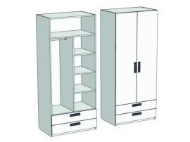 Шкаф 2-х дверный комбинированный с 2-мя ящиками Junior CL-0670Q