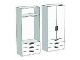 Шкаф 2-х дверный со штангой и 3-мя ящиками Junior CL-0870Q с рисунком