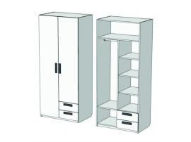 Шкаф 2-х дверный комбинированный с 2-мя ящиками Junior CL-1170Q с рисунком изображение 1