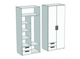 Шкаф 2-х дверный комбинированный с 2-мя ящиками Junior CL-1170Q с рисунком изображение 2