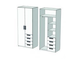 Шкаф 2-х дверный комбинированный с 4-мя ящиками Junior CL-1270Q с рисунком изображение 2
