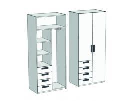 Шкаф 2-х дверный комбинированный с 4-мя ящиками Junior CL-1270Q с рисунком изображение 1