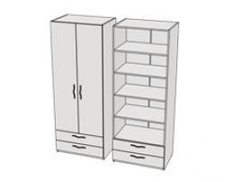 Шкаф с 2-мя ящиками и полками Teenager CL04, CLH04