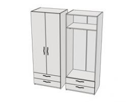 Шкаф с 2-мя ящиками и штангой Teenager CL05, CLH05