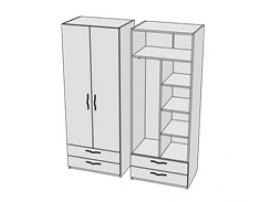 Шкаф комбинированный с 2-мя ящиками Teenager CL06, CLH06
