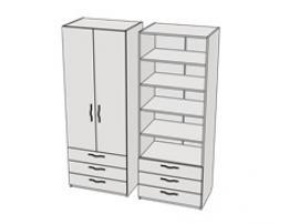 Шкаф с 3-мя ящиками и полками Teenager CL07