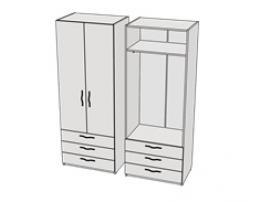 Шкаф с 3-мя ящиками и штангой Teenager CL08, CLH08