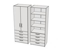 Шкаф с 4-мя ящиками и полками Teenager CL09, CLH09