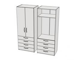 Шкаф с 4-мя ящиками и штангой Teenager CL10, CLH10
