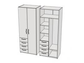 Шкаф с 4-мя ящиками комбинированный Teenager CL12, CLH12 L/R