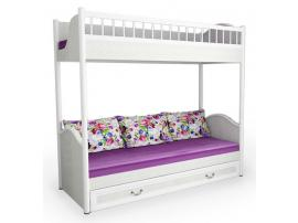 Кровать 2-х ярусная со сплошным ограждением и ящиком Классика