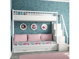 Кровать 2-х ярусная со сплошным ограждением и ящиком Классика изображение 2