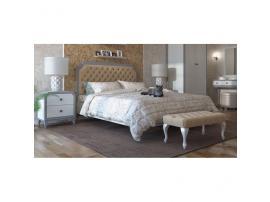 Кровать с мягкой спинкой каретная стяжка София 180х200 (серый лак) изображение 3