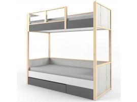 Кровать 2-х ярусная с фальшпанелью НьюТон Грей изображение 1