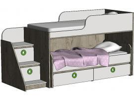 Кровать-чердак с выкатной кроватью MBR2Q Клюква Мини изображение 3